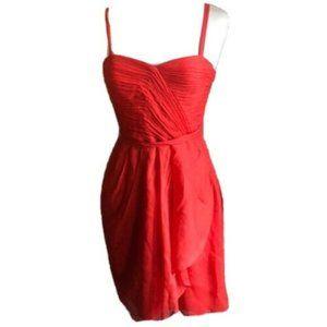 J Crew Dress Silk Chiffon Red Coral Size 6